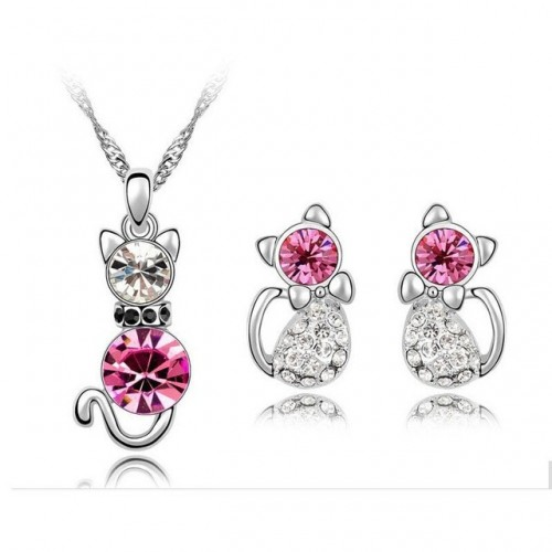 Cute Cat Necklace and Earrings