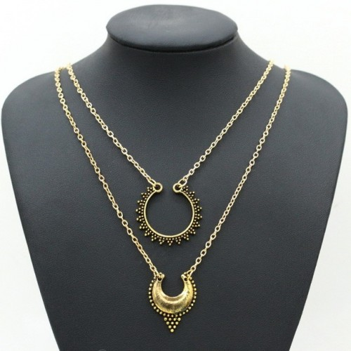 Metal carved double necklace