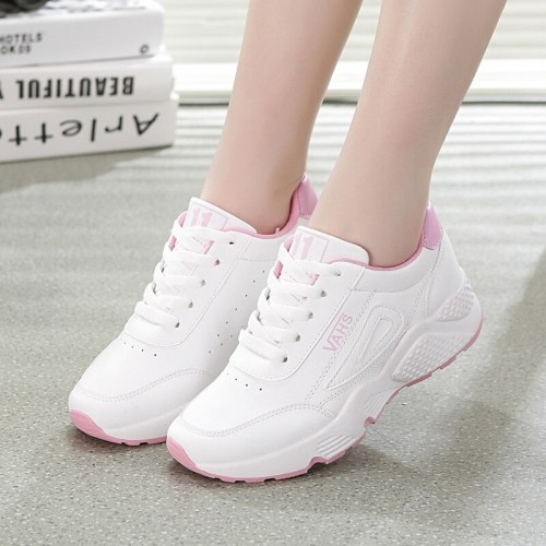 Platform white running shoes