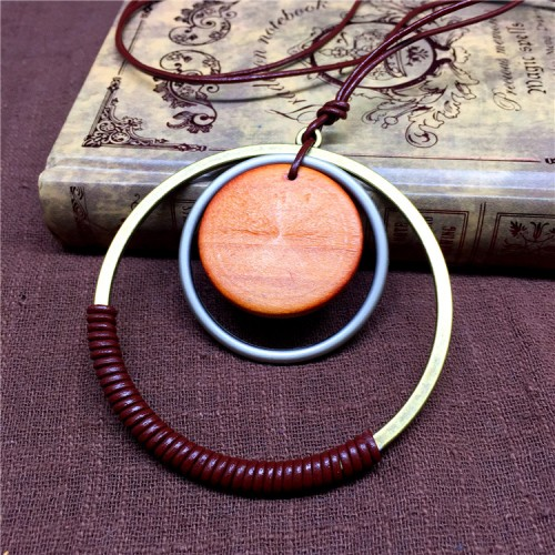 Rope double circle necklace